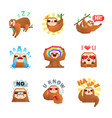 sloth emoticon stickers set vector image