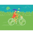 Young woman rides white outlined bicycle vector image