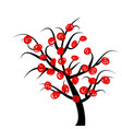 abstract tree with red fruits vector image