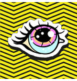 fashion patch badge pin with eye vector image