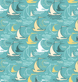 Seamless pattern with decorative sailing ships on vector image