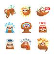 sloth emoticon stickers set vector image