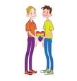 Happy cartoon gay couple with rainbow heart vector image