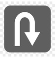 U Turn Rounded Square Button vector image