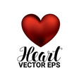 Love romantic 3D Realistic Red Hearts on white vector image