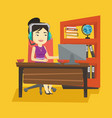 business woman with headset working at office vector image vector image