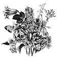 black and white hand drawn garden flowers vector image