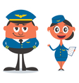 Pilot and Air Hostess vector image vector image