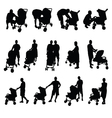 mother and father with baby stroller silhouette vector image