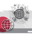Paper and hand drawn earth globe emblem with icons vector image