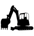compact excavator silhouette vector image