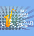 saxophone with notes pop art banner best music vector image