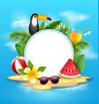 summer poster with toucan bird watermelon sea vector image