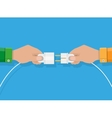 Two hands trying to connect electric plug together vector image