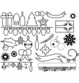 outlined christmas elements vector image