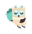 cute cartoon owl bird sleeping colorful character vector image vector image
