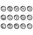 doodle cartoon smiley faces vector image vector image