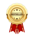Golden medal Bestseller with red ribbon vector image vector image