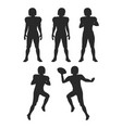 collection of silhouettes football players set vector image