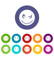 eyewink emoticon set icons vector image