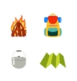 Hike set isolated Fire backpack cauldron vector image