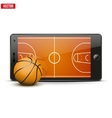 Mobile phone with basketball ball and field on the vector image