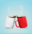 white and red coffee cup vector image