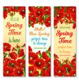 hello spring flower greeting banner set design vector image
