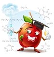 school apple with a worm and with a test tube in vector image