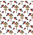 bird and bird house pattern vector image