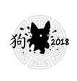 chinese new year 2018 sign silhouette dog in vector image