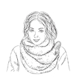 Hand drawn girl vector image