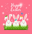 happy easter card with white rabbits vector image
