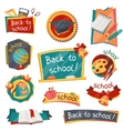 School banners badges with education icons and vector image