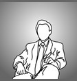 sitting businessman with cigar on his left hand vector image