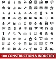 100 architecture construction industry icons set vector image