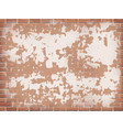 old red brick wall with peeling plaster vector image