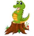 cartoon crocodile posing on tree stump vector image