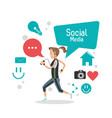 girl social media mobile phone bubble speech vector image