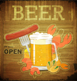 glass of beer and snack on wooden background vector image