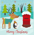 polar animals send letters to santa claus vector image