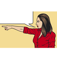 pop art woman pointing vector image