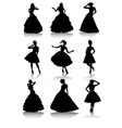 Set of various beautiful model girls in dress vector image