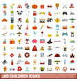 100 children icons set flat style vector image