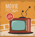vintage movie night television card concept vector image