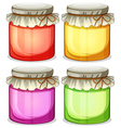 Four colorful jars that are tightly covered vector image