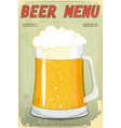 glass of beer vintage background vector image vector image