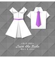 origami dress and shirt wedding invitation vector image