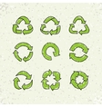 Set of sketch doodle recycle reuse symbol vector image vector image