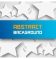 Blue paper rectangle banner on abstract stars vector image